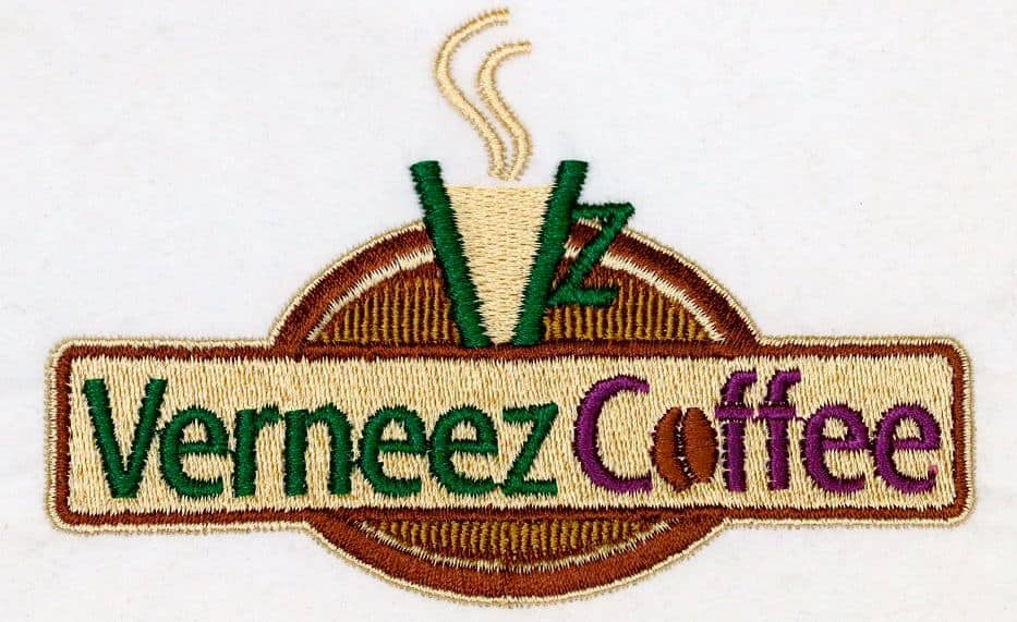 example of embroidered apron logo with fine picket pattern