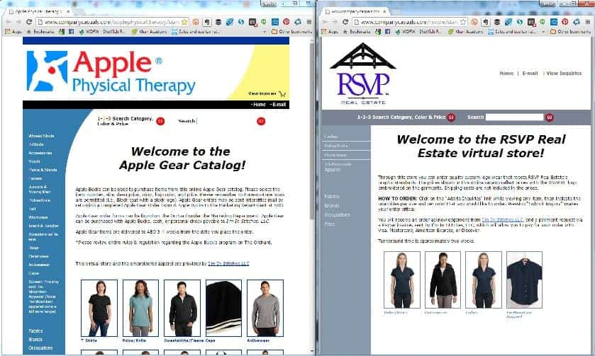 examples of virtual stores for branded apparel clients from greater Seattle Tacoma area