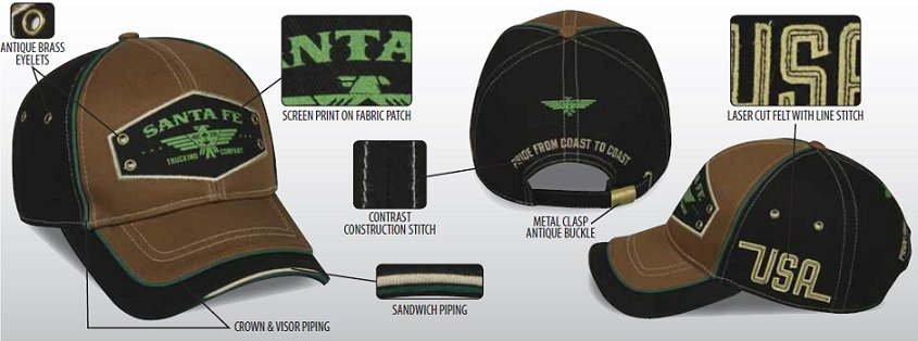photo of promotional cap with fully customized patch, brass eyelets, contrast stitching, sandwich piping, laser cut felt, all made-to-order to customer's specifications