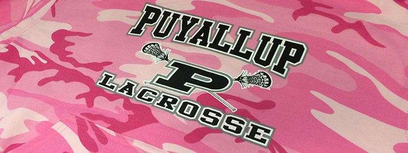 image of screen printed hoodie camo pattern - Puyallup lacrosse