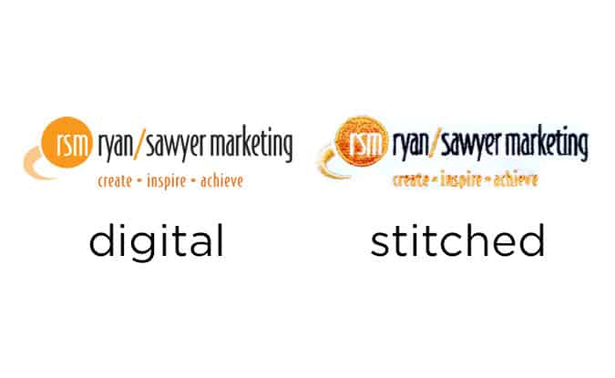 example of embroidery compared to original art - Ryan / Sawyer Marketing - Seattle, Bellevue, Tacoma, WA