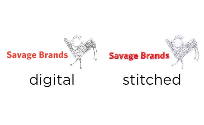 example of embroidery versus original art, Savage Brands - Houston, Albuquerque, Seattle