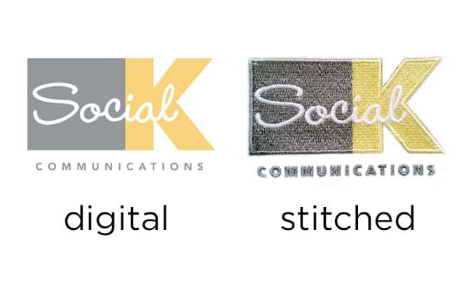 example of embroidery, Social K Communications - Seattle, Tukwila, Renton, Kent, Sumner, WA