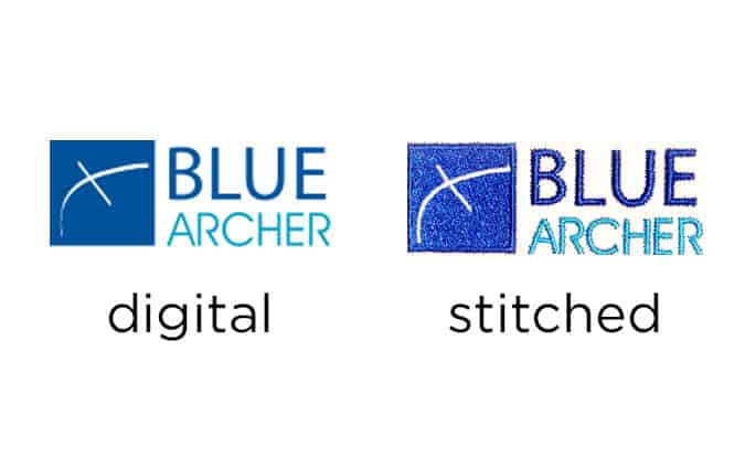 example of Blue Archer embroidery vs original art - Tacoma, Portland, Beaverton, Tualatin