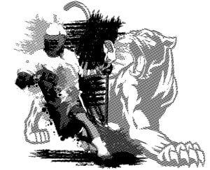 image of screen printed design using half tone grays - Seattle
