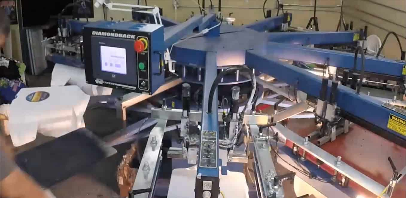 image of screen printing automatic press near Seattle, outside of Tacoma, in Puyallup, WA