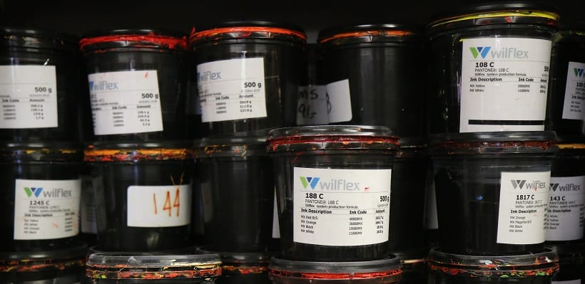 photo of screen print ink containers - Seattle, Tacoma, Kent, Auburn, Sumner, WA