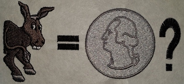 Image of an embroidered half of a donkey and a quarter - Seattle, Bellevue, WA