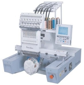 image of Barudan embroidery machine showing limits of width and depth
