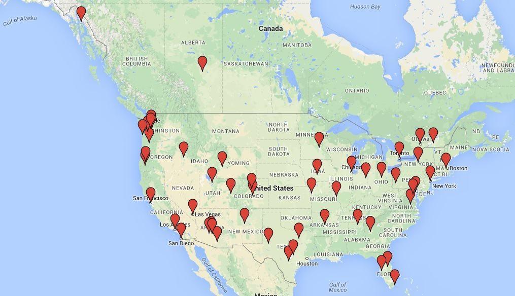 Map of client locations, including San Francisco, Phoenix, Albuquerque, Bellevue