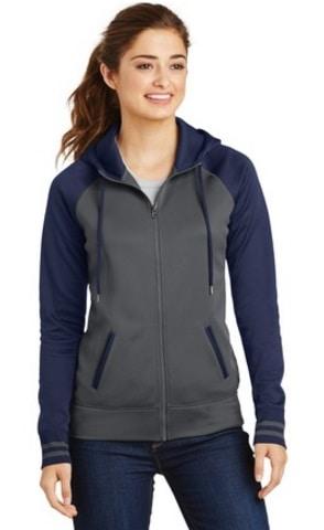 image of model wearing LST235 ladies' hoodie navy