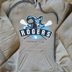 Images of screen printed ladies' gray hoodie - Puyallup Rogers