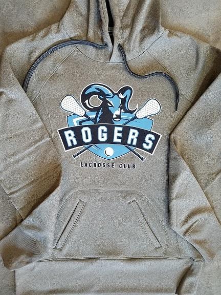 Images of screen printed ladies' gray hoodie - Puyallup Rogers