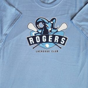 Image of screen printed light blue 100% cotton tee - Sumner