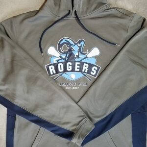 image of gray navy two-tone screen printed polyester hoodie