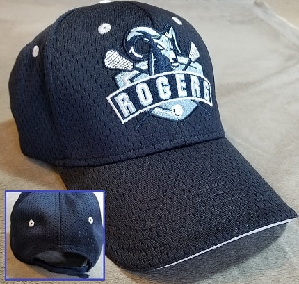 Image of navy embroidered cap with white contrast trim - Portland