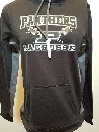 Image of black LST235 hoodie with Panthers logo