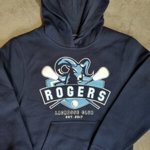 image of screen printed youth hoodie for Rogers Lacrosse 1