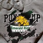Photo of screen printed hoodie with tear design to show organizational transition
