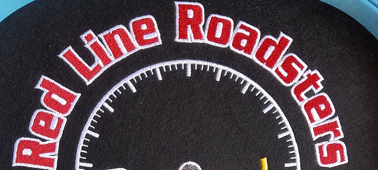 Image of embroidered full jacket back for Red Line Roadsters car club - Seattle, Portland