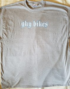 Photo of screen printed GHY shirt with basic two color chest design