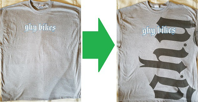 Before and after images of screen printed tshirts with oversized watermark effect