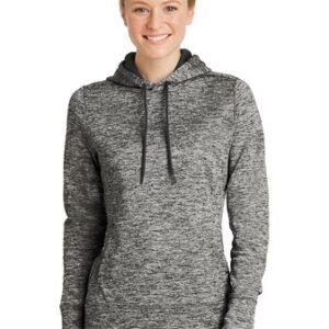 Image of black electric heather sweatshirt with model