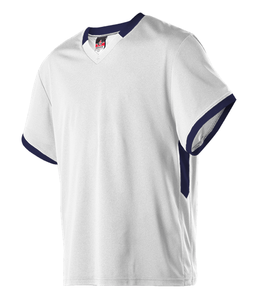 image of white lacrosse jersey with navy trim - Portland, Bellevue, Woodinville